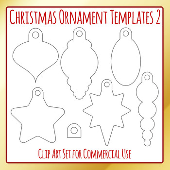 Christmas Ornament Templates 2 Craft Clip Art Pack for Commercial Use