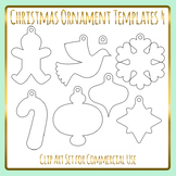 Christmas Ornament Templates 4 Craft Clip Art Pack for Commercial Use