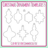 Christmas Ornament Templates 5 Craft Clip Art Pack for Commercial Use