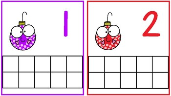 Christmas Ornament Ten Frame Counting Mats 1-20