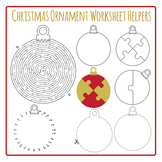 Christmas Ornament Worksheet Helpers Clip Art Pack for Commercial Use