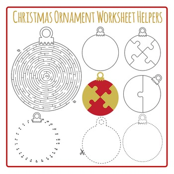 - Christmas Ornament Worksheet Helpers Clip Art Pack For Commercial Use