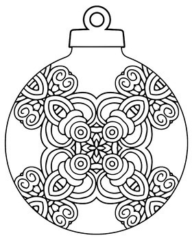 Christmas Holiday Ornament Zentangle & Mandala Coloring Book Pages