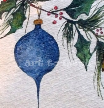 Christmas Ornament and Holly Painting digital download clipart acrylic painting