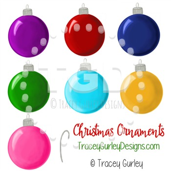 Christmas Ornament clip art - set of 7 with hook Tracey Gu