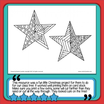 Christmas Ornaments 3D Stars for Students to Color!