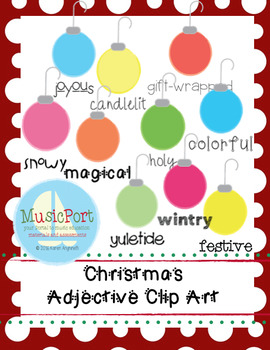 Christmas Ornaments Adjectives Clip Art