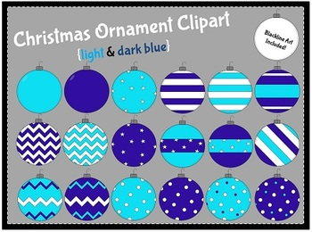 Christmas Ornaments-Blue {clipart}