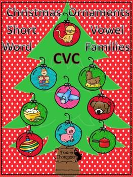 "Christmas Ornaments ""Short Vowel Flash Cards"" (CVC Words)"