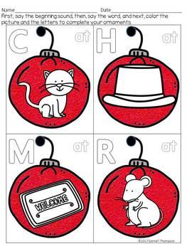 "CVC Christmas Ornaments ""Short Vowels"" (Flash Cards)"