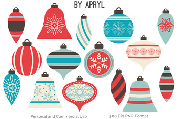 Christmas Ornaments Clip Art Bead Strands Swags Blue Coral Holiday Commercial