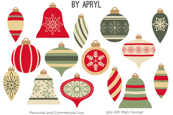 Christmas Ornaments Clip Art Bead Strands Swags Red Green Holiday Commercial