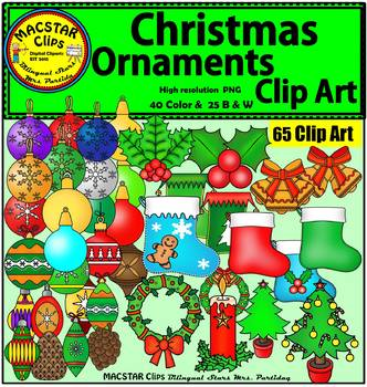 Christmas Ornaments Clip Art  Personal and Commercial Use