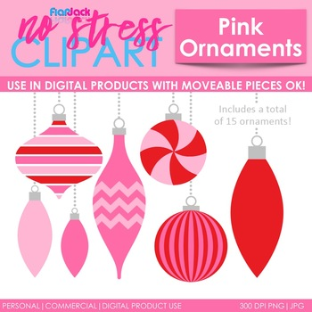 Christmas Ornaments Clip Art Pink Peppermint Digital Use Ok