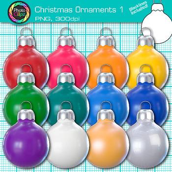 Christmas Ornament Clip Art {Rainbow Balls and Bulbs Photo