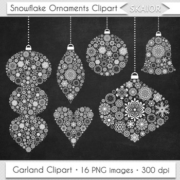 Christmas Ornaments Clipart Chalkboard Tree Decorations Garlands Clip Art