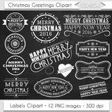 Merry Christmas Clipart Chalkboard Christmas Greetings Labels Clipart 2016