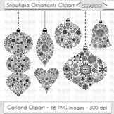 Christmas Ornaments Clipart Tree Decorations Snowflake Gar