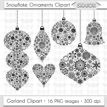 Christmas Ornaments Clipart Tree Decorations Snowflake Gar