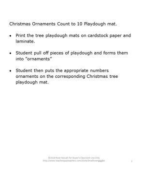 Christmas Math Centers Playdough Mats Kindergarten Counting to 10 Activities