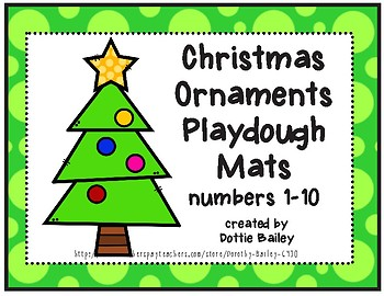 Christmas Ornaments Counting Playdough Mats