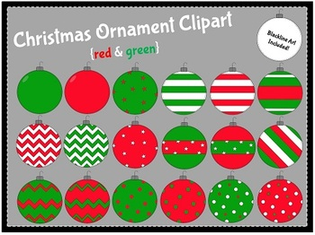 Christmas Ornaments-Red & Green {clipart}