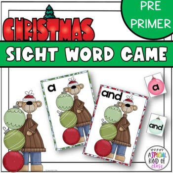 Christmas Ornaments Sight Word Match Pre-primer