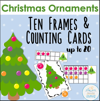 Christmas Ornaments Ten Frames and Counting/Adding Cards to 20