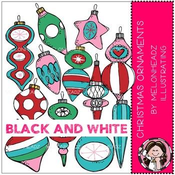 Christmas Ornaments clip art - BLACK AND WHITE - Melonheadz Clipart