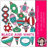 Christmas Ornaments clip art - BLACK AND WHITE - Melonhead