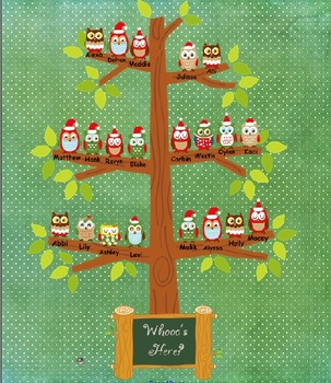 Christmas Owl Attendance Keeper for Smartboard