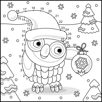 Connect the Dots and Coloring Page with Christmas Owl, Commercial Use Allowed