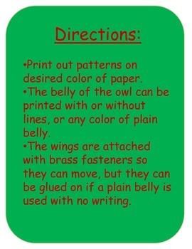 Christmas Owl Craft and Writing Template