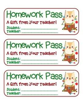 """Christmas Owl"" Homework Pass (full color version)"