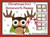 Christmas Owl Homework Passes