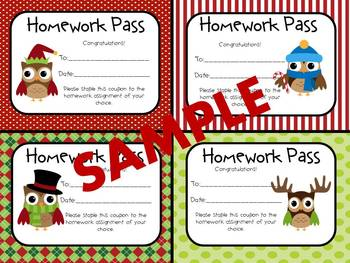 Christmas Owl Homework Passes