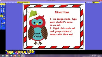 Christmas Owl Lunch Choice for Activboard