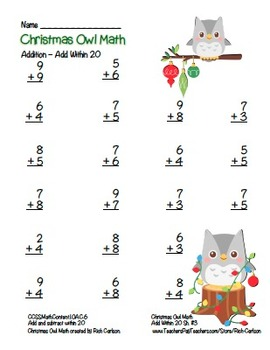 """""""Christmas Owl Math"""" Add Within 20 - Common Core - Addition Fun! (color version)"""