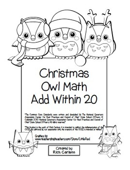 """Christmas Owl Math"" Add Within 20 - Common Core -  Fun! (black line version)"