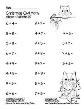 """Christmas Owl Math"" Add Within 20 - Common Core -  Fun! (black line version)"
