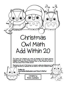 """Christmas Owl Math"" Add Within 20 - Common Core -  Fun! ("