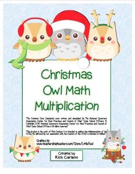 """Christmas Owl Math"" Mixed Multiplication - Common Core Fun! (blackline & color)"