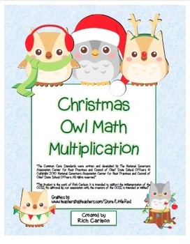 """Christmas Owl Math"" Mixed Multiplication - Common Core - Fun! (color version)"