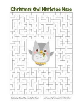 """Christmas Owl Mistletoe"" Maze! Holiday FUN! (Color and Black Line)"