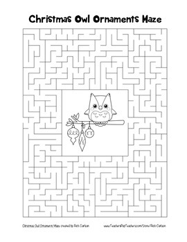 """Christmas Owl Ornaments"" Maze! Holiday FUN! (Color and Black Line)"