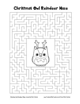 """Christmas Owl Reindeer"" Maze! Holiday FUN! (Color and Black Line)"
