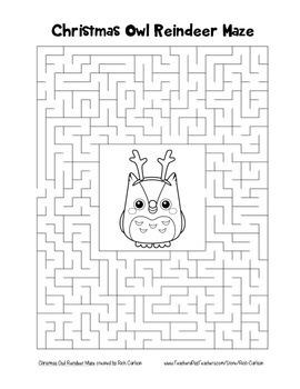"""Christmas Owl Reindeer"" Maze! Holiday FUN! (Color and Black Line)"