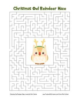 """""""Christmas Owl Reindeer"""" Maze! Holiday FUN! (Color and Bla"""