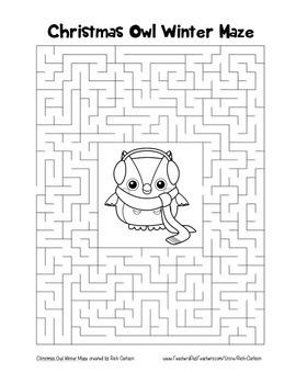 """Christmas Owl Winter"" Maze! Holiday FUN! (Color and Black Line)"