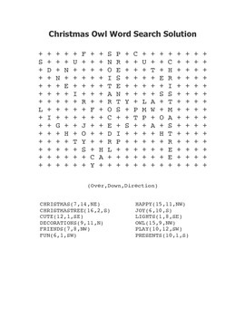 """Christmas Owl"" Word Search – Holiday Fun! (Black Line Version)"